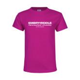 Youth Fuchsia T Shirt-Embry Riddle Worldwide