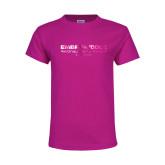 Youth Fuchsia T Shirt-Embry Riddle Worldwide  Foil