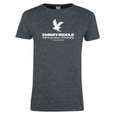 Ladies Dark Heather T Shirt-Worldwide Stacked w/ Eagle