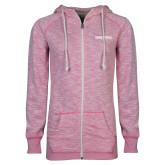 ENZA Ladies Hot Pink Marled Full Zip Hoodie-Embry Riddle Worldwide