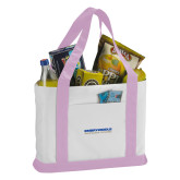 Contender White/Pink Canvas Tote-Embry Riddle Aeronautical University