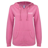 ENZA Ladies Hot Pink V Notch Raw Edge Fleece Hoodie-Embry Riddle Worldwide