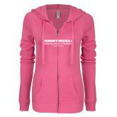 ENZA Ladies Hot Pink Light Weight Fleece Full Zip Hoodie-Embry Riddle Worldwide