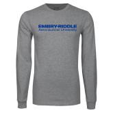 Grey Long Sleeve T Shirt-Embry Riddle Aeronautical University