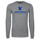 Grey Long Sleeve T Shirt-Worldwide Stacked w/ Eagle