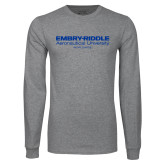 Grey Long Sleeve T Shirt-Embry Riddle Worldwide