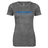 Next Level Ladies Junior Fit Dark Grey Burnout Tee-Embry Riddle Worldwide  Foil