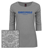 Ladies Grey Heather Lace 3/4 Sleeve Tee-Embry Riddle Worldwide