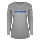 Ladies Syntrel Performance Platinum Longsleeve Shirt-Embry Riddle Worldwide