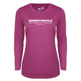 Ladies Syntrel Performance Raspberry Longsleeve Shirt-Embry Riddle Worldwide