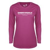 Ladies Syntrel Performance Raspberry Longsleeve Shirt-Embry Riddle Worldwide