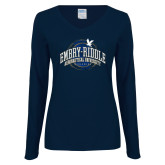 Ladies Navy Long Sleeve V Neck T Shirt-Arched Embry-Riddle Property Of