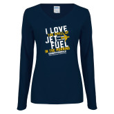 Ladies Navy Long Sleeve V Neck T Shirt-I Love The Smell of Jet Fuel In The Morning