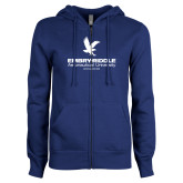 ENZA Ladies Royal Fleece Full Zip Hoodie-Worldwide Stacked w/ Eagle