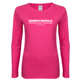 Ladies Fuchsia Long Sleeve T Shirt-Embry Riddle Worldwide