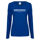 Ladies Royal Long Sleeve V Neck Tee-Embry Riddle Worldwide
