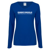 Ladies Royal Long Sleeve V Neck Tee-Embry Riddle Aeronautical University