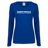 Ladies Royal Long Sleeve V Neck T Shirt-Embry Riddle Aeronautical University
