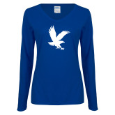 Ladies Royal Long Sleeve V Neck Tee-Eagle