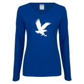 Ladies Royal Long Sleeve V Neck T Shirt-Eagle