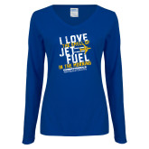 Ladies Royal Long Sleeve V Neck Tee-I Love The Smell of Jet Fuel In The Morning