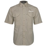 Khaki Short Sleeve Performance Fishing Shirt-Embry Riddle Worldwide