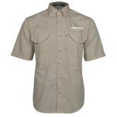 Khaki Short Sleeve Performance Fishing Shirt-Embry Riddle Worldwide