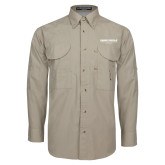 Khaki Long Sleeve Performance Fishing Shirt-Embry Riddle Worldwide