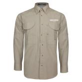 Khaki Long Sleeve Performance Fishing Shirt-Embry Riddle Worldwide