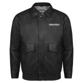 Black Leather Bomber Jacket-Embry Riddle Aeronautical University