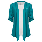 Ladies Teal Drape Front Cardigan-Embry Riddle Worldwide