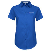 Ladies Royal Twill Button Up Short Sleeve-Embry Riddle Aeronautical University