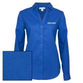 Ladies Red House Diamond Dobby Royal Long Sleeve Shirt-Embry Riddle Aeronautical University