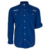 Columbia Bahama II Royal Long Sleeve Shirt-Embry Riddle Aeronautical University