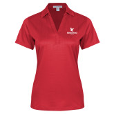 Ladies Red Performance Fine Jacquard Polo-Worldwide Stacked w/ Eagle