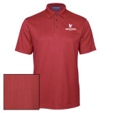 Red Performance Fine Jacquard Polo-Worldwide Stacked w/ Eagle