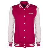 Ladies Pink Raspberry/White Fleece Letterman Jacket-Embry Riddle Worldwide