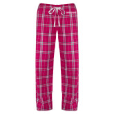 Ladies Dark Fuchsia/White Flannel Pajama Pant-Embry Riddle Worldwide