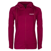 Ladies Sport Wick Stretch Full Zip Deep Berry Jacket-Embry Riddle Worldwide