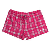 Ladies Dark Fuchsia/White Juniors Flannel Plaid Boxer-Embry Riddle Worldwide