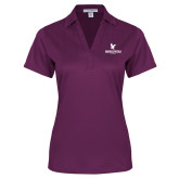 Ladies Purple Performance Fine Jacquard Polo-Worldwide Stacked w/ Eagle