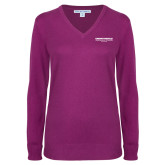 Ladies Deep Berry V Neck Sweater-Embry Riddle Worldwide