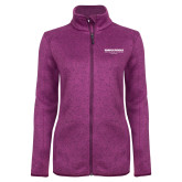 Dark Pink Heather Ladies Fleece Jacket-Embry Riddle Worldwide