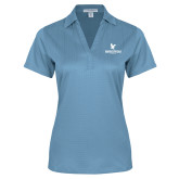 Ladies Light Blue Performance Fine Jacquard Polo-Worldwide Stacked w/ Eagle