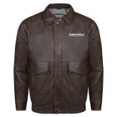 Brown Leather Bomber Jacket-Embry Riddle Aeronautical University