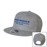 Heather Grey Wool Blend Flat Bill Snapback Hat-Embry Riddle Worldwide