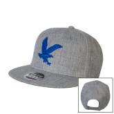 Heather Grey Wool Blend Flat Bill Snapback Hat-Eagle
