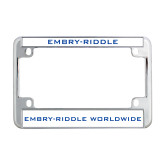Metal Motorcycle License Plate Frame in Chrome-Embry-Riddle