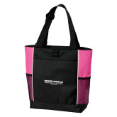 Black/Tropical Pink Panel Tote-Embry Riddle Worldwide