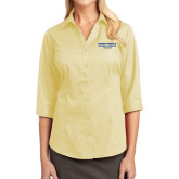 Ladies Pale Yellow Open Neck Blouse-